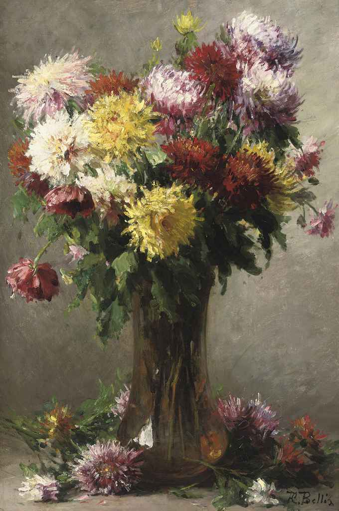 Chrysanthemums in a glass vase