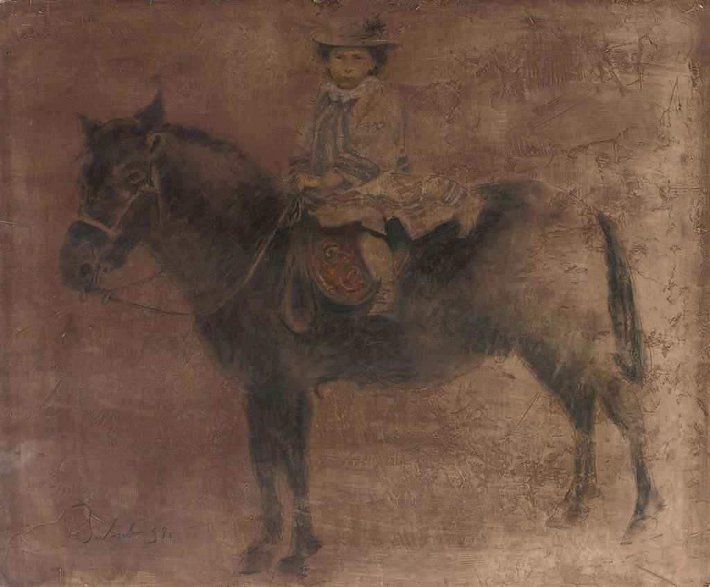 A child on a horseback