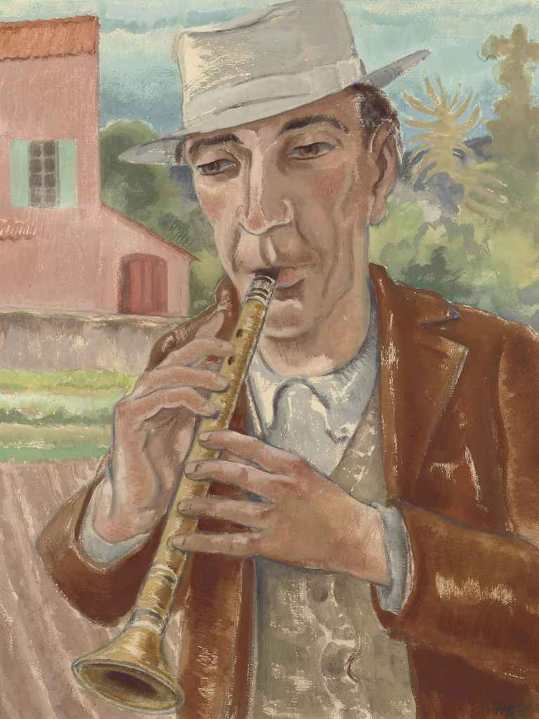 A man playing the clarinet
