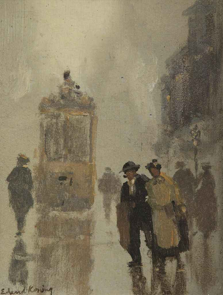 A street scene with a tram