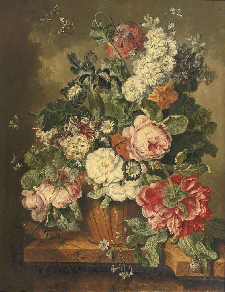 A lily, roses, violets and other flowers in an earthenware vase on a marble ledge with butterflies and a snail