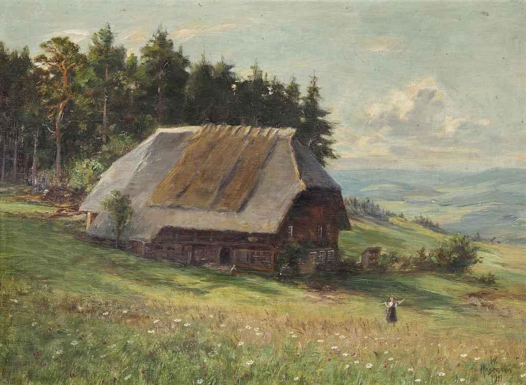 A farm in an alpine landscape