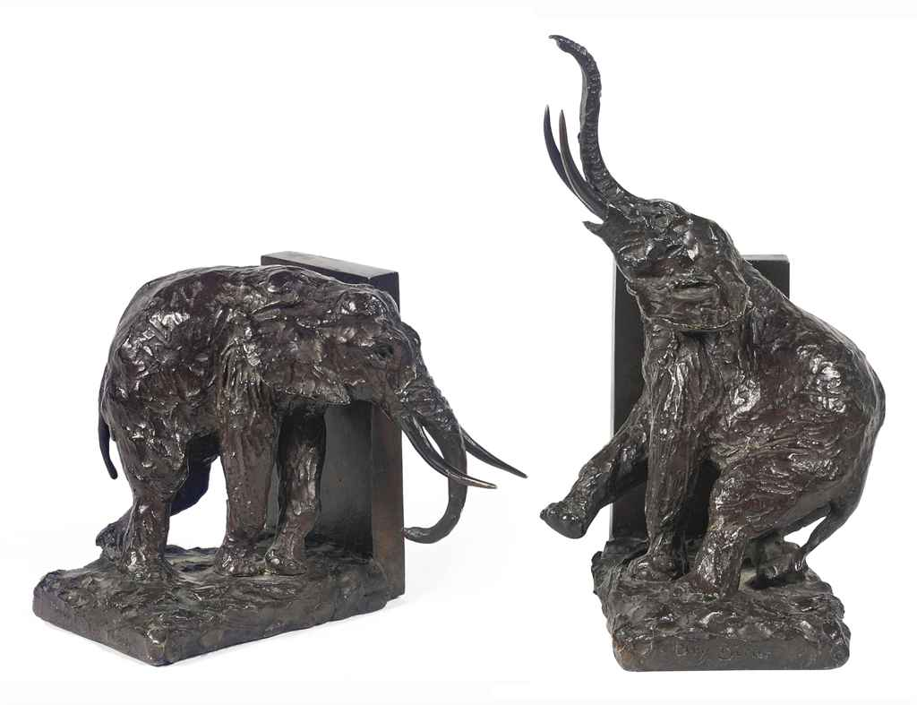 A FRENCH PAIR OF BRONZE ELEPHANT BOOKENDS
