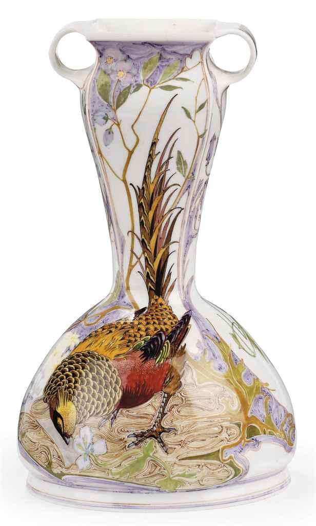A Dutch egg-shell porcelain two-handled vase