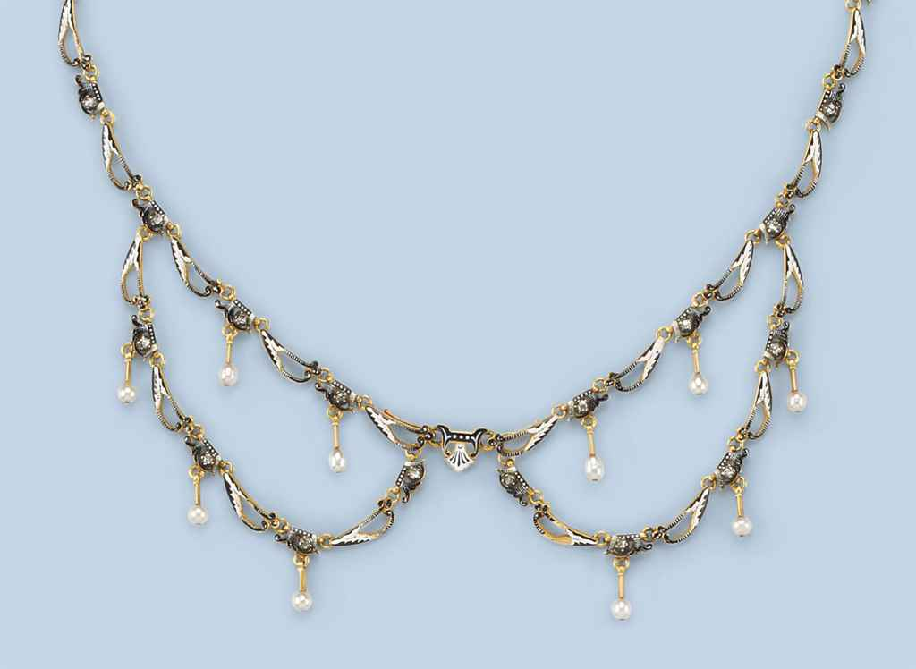 AN ANTIQUE ENAMEL AND DIAMOND NECKLACE, BY GIULIANO