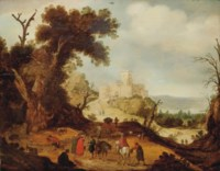 An Italianate landscape with travellers and a fortune teller on a path, a fortification beyond