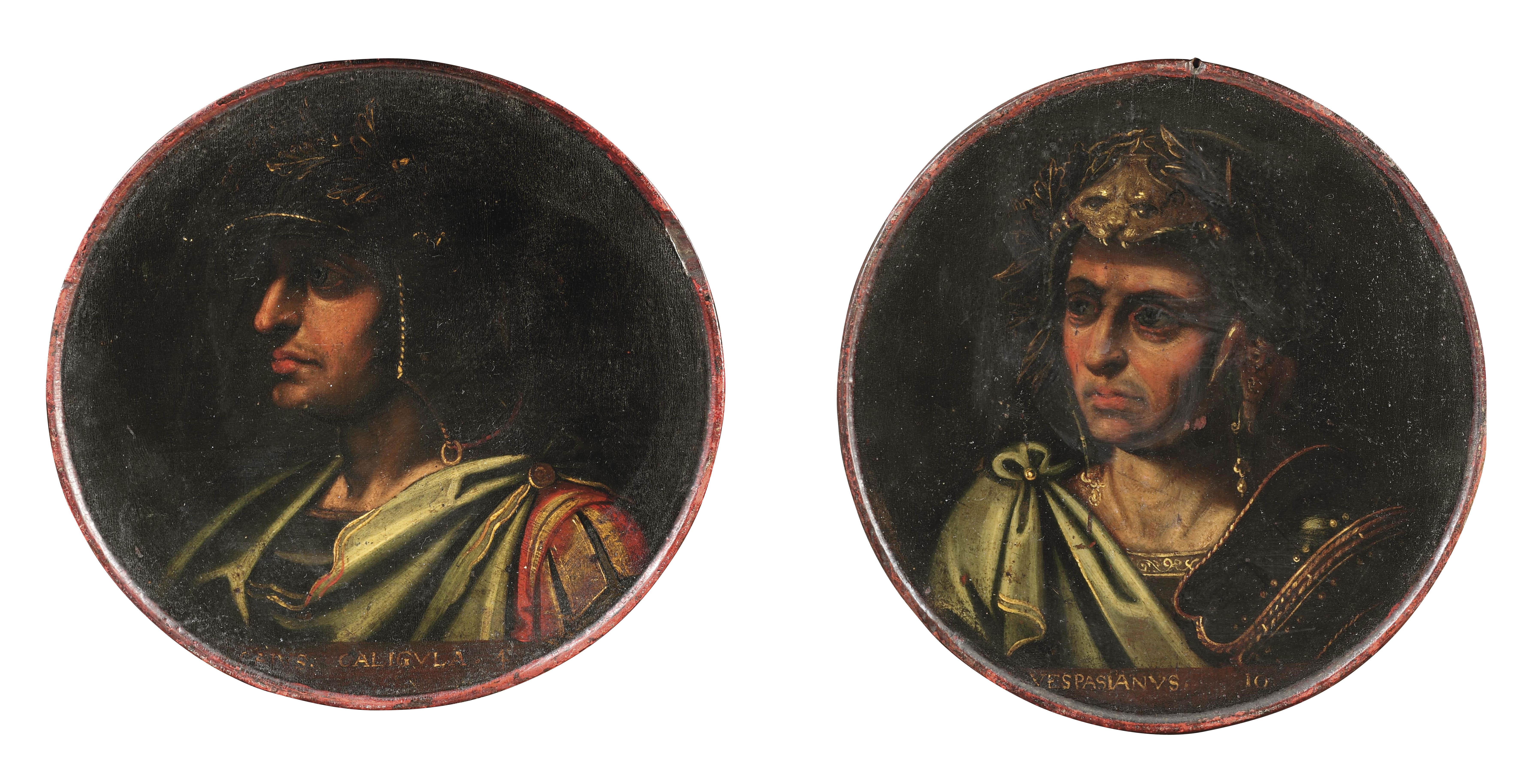 Portrait of the Roman Emperor Titus Flavius Vespasianus; and Portrait of the Roman Emperor Gaius Julius Caesar Augustus Germanicus