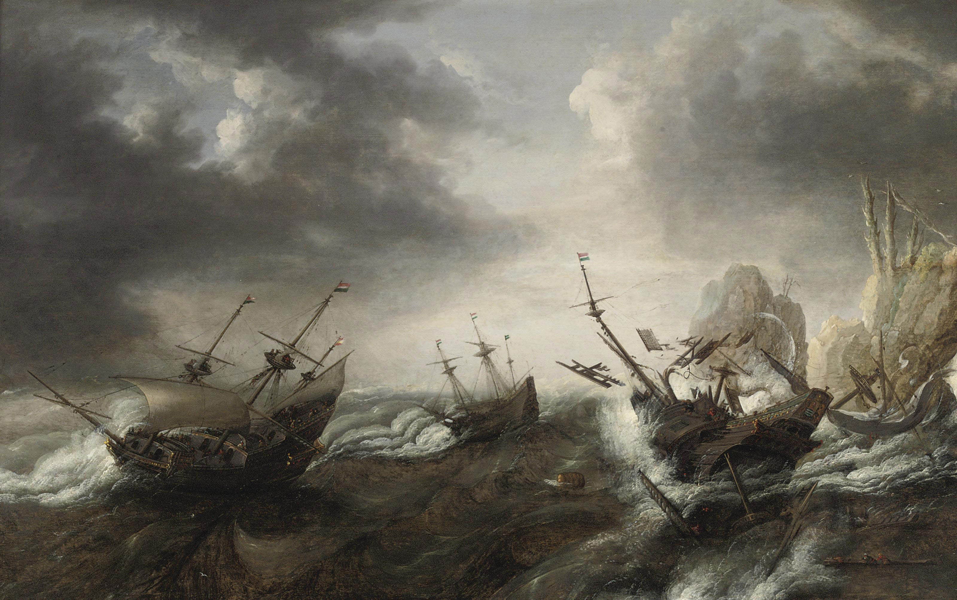 Vessels in stormy water, two boats shipwrecked near the rocks, one with the coat of arms of Zeeland