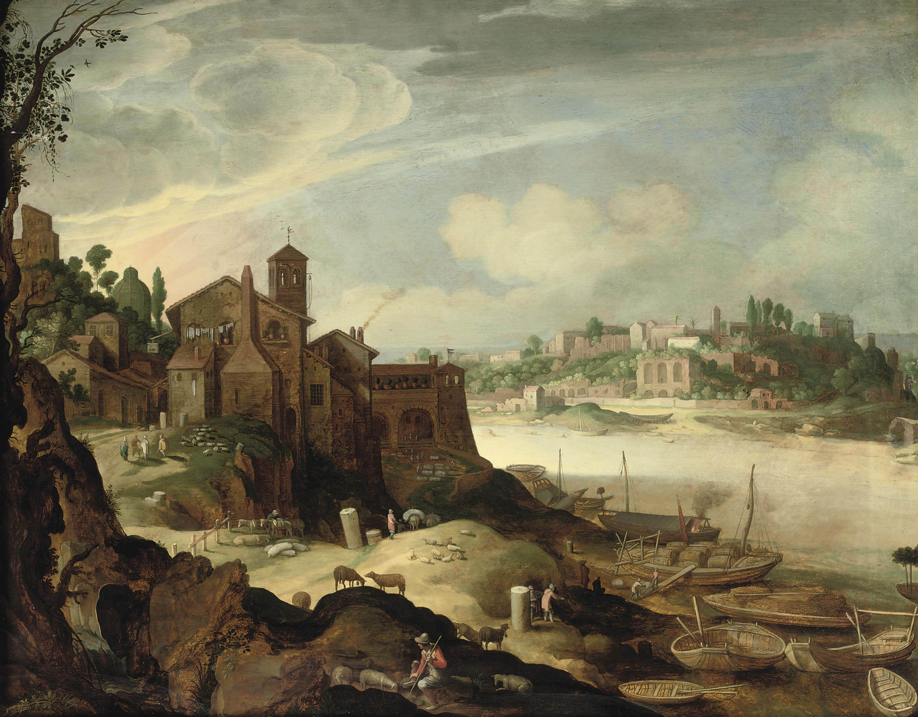 View of the river Tiber with the Ripa Grande, Rome
