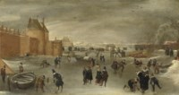 Skaters, kolf players and sledges on a frozen river near the St. Janspoort city gate, with the Kruispoort in the background and the Pink mill beyond, Haarlem