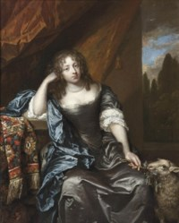 Portrait of a lady, seated three-quarter-length, in a grey silk dress with lace chemise, blue wrap and a pearl necklace, holding a branch in her left hand, a lamb at her side