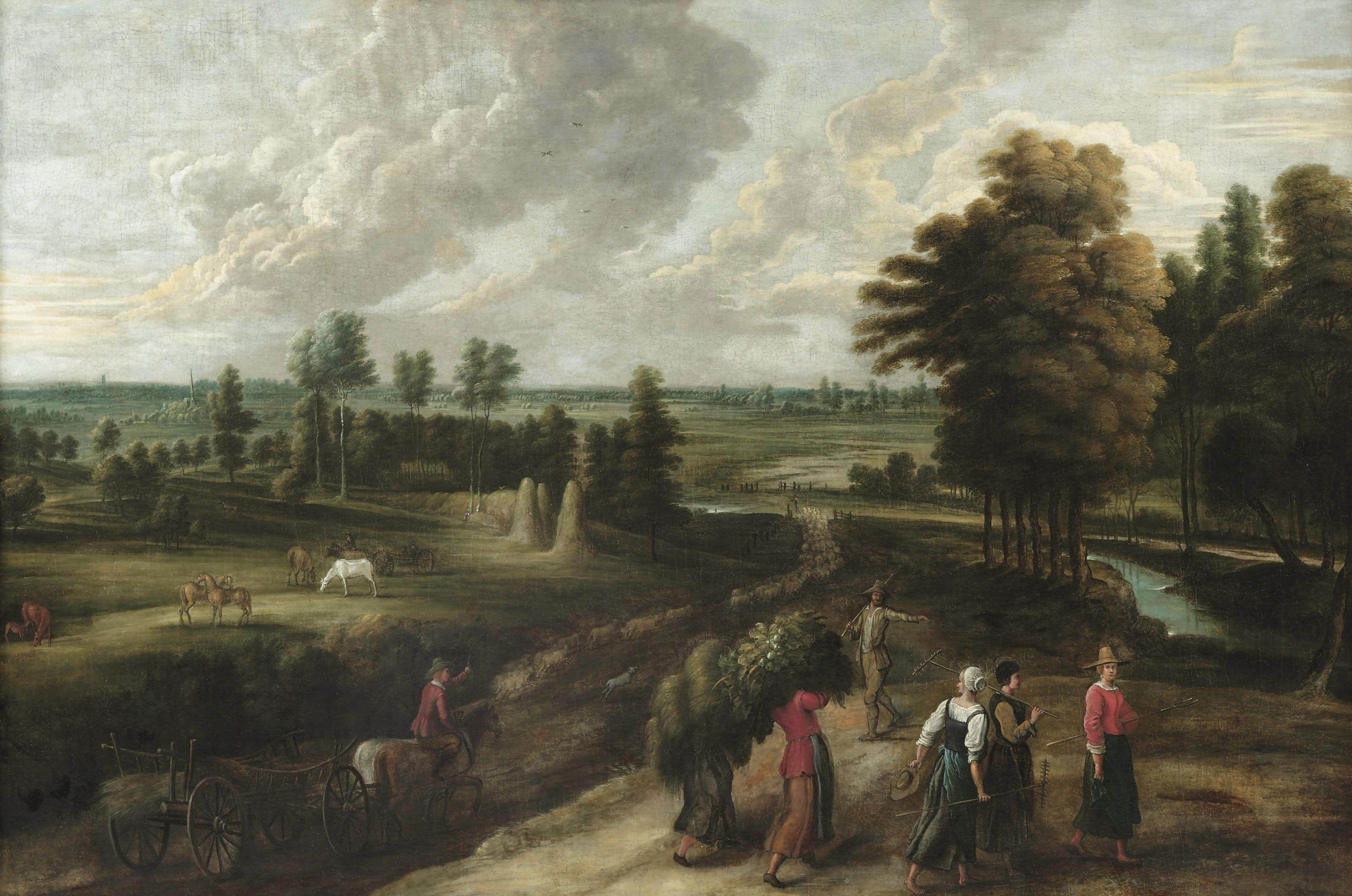 An extensive landscape with harvesters carrying their produce along a track in the foreground, a herdsman driving a flock of sheep into the distance