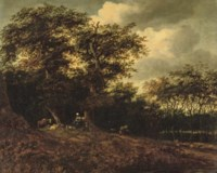 A wooded river landscape with a shepherdess resting with her cattle