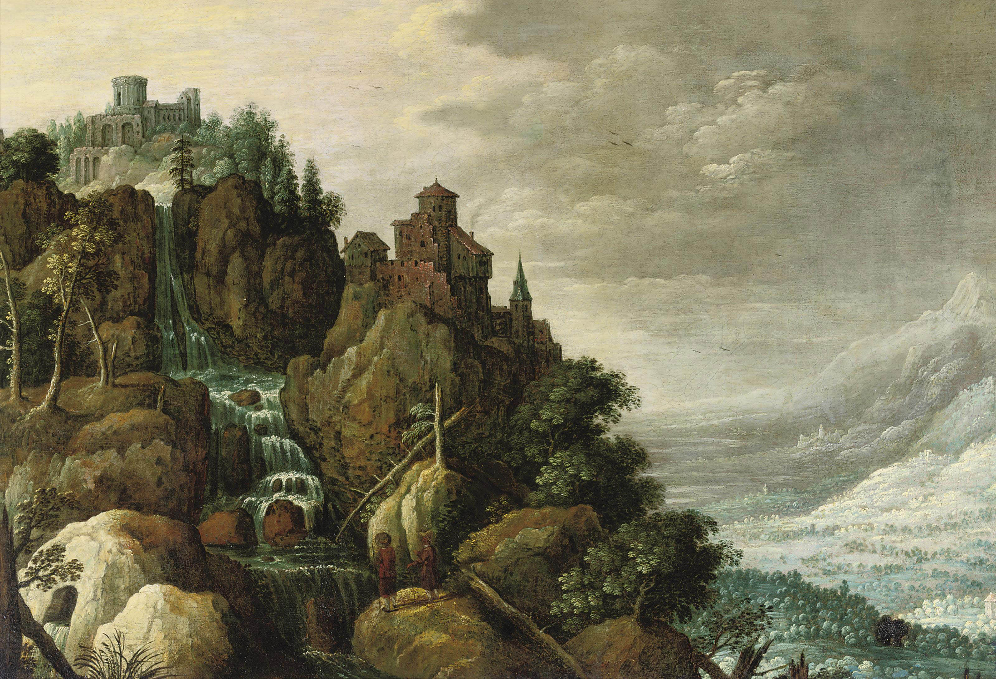 A mountainous landscape with a waterfall and a fortification on the rocks, figures conversing in the foreground