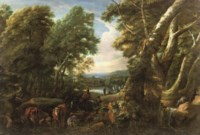 A wooded landscape with shepherds and cattle resting near a lake