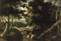 A forest landscape with an elegant company on a falcon hunt