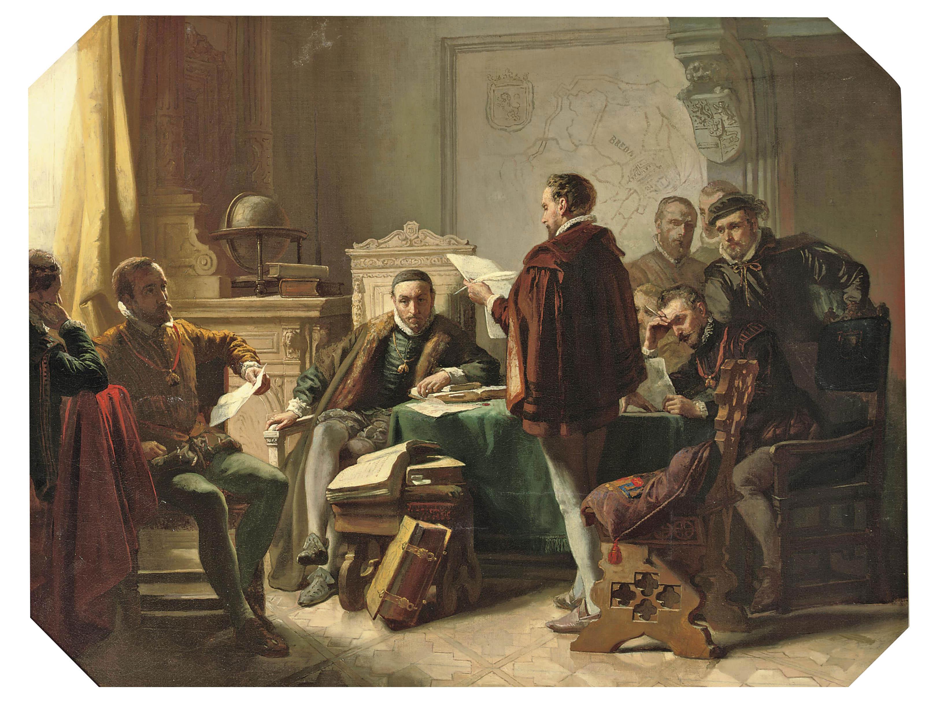 Marnix van Sint-Aldegonde declaiming 'Het Wilhelmus' to Willem van Oranje