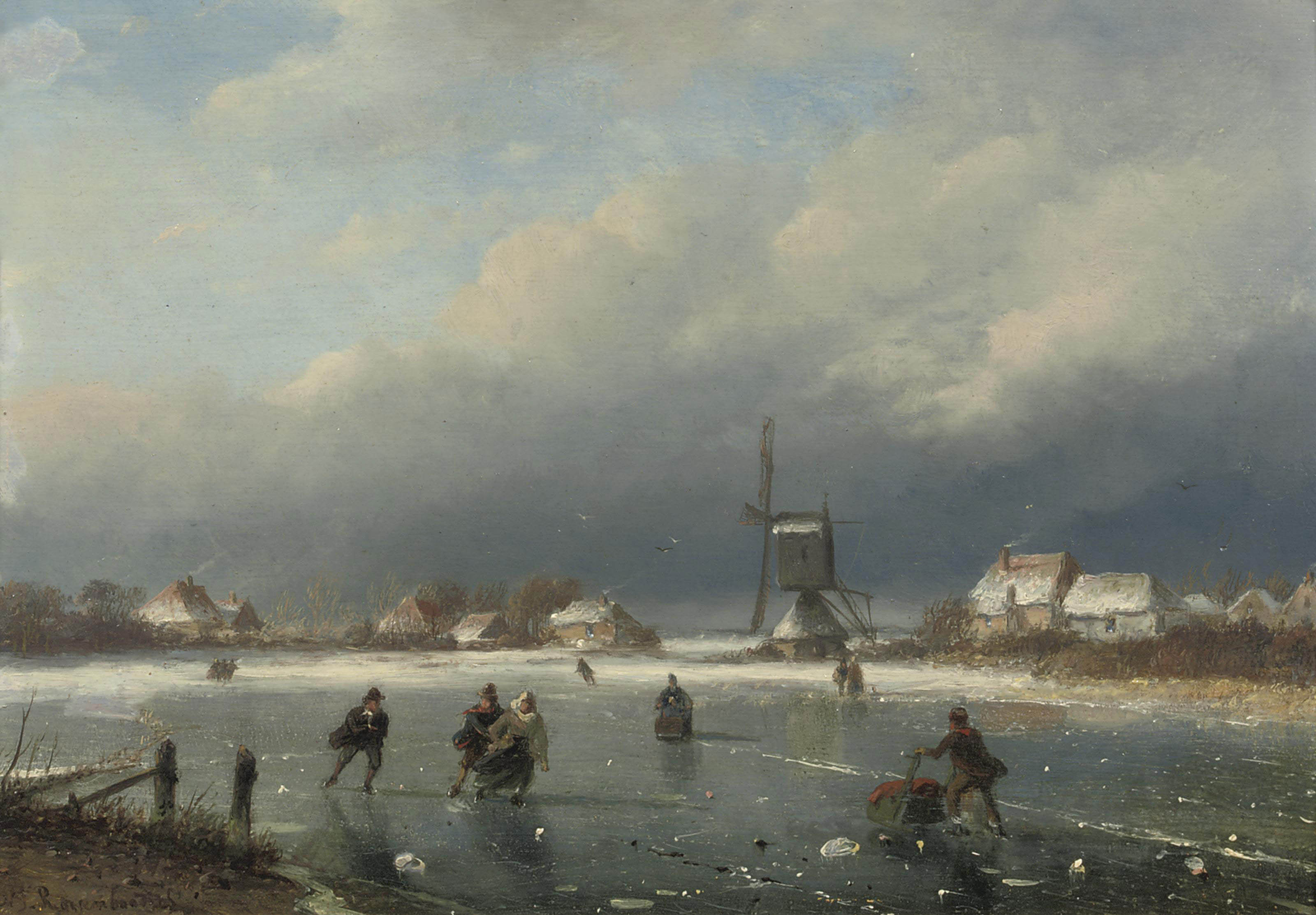 A winter landscape with skaters and a mill beyond