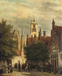 Townspeople and cattle in the Bagijnestraat with the Westerkerk in the background, Enkhuizen