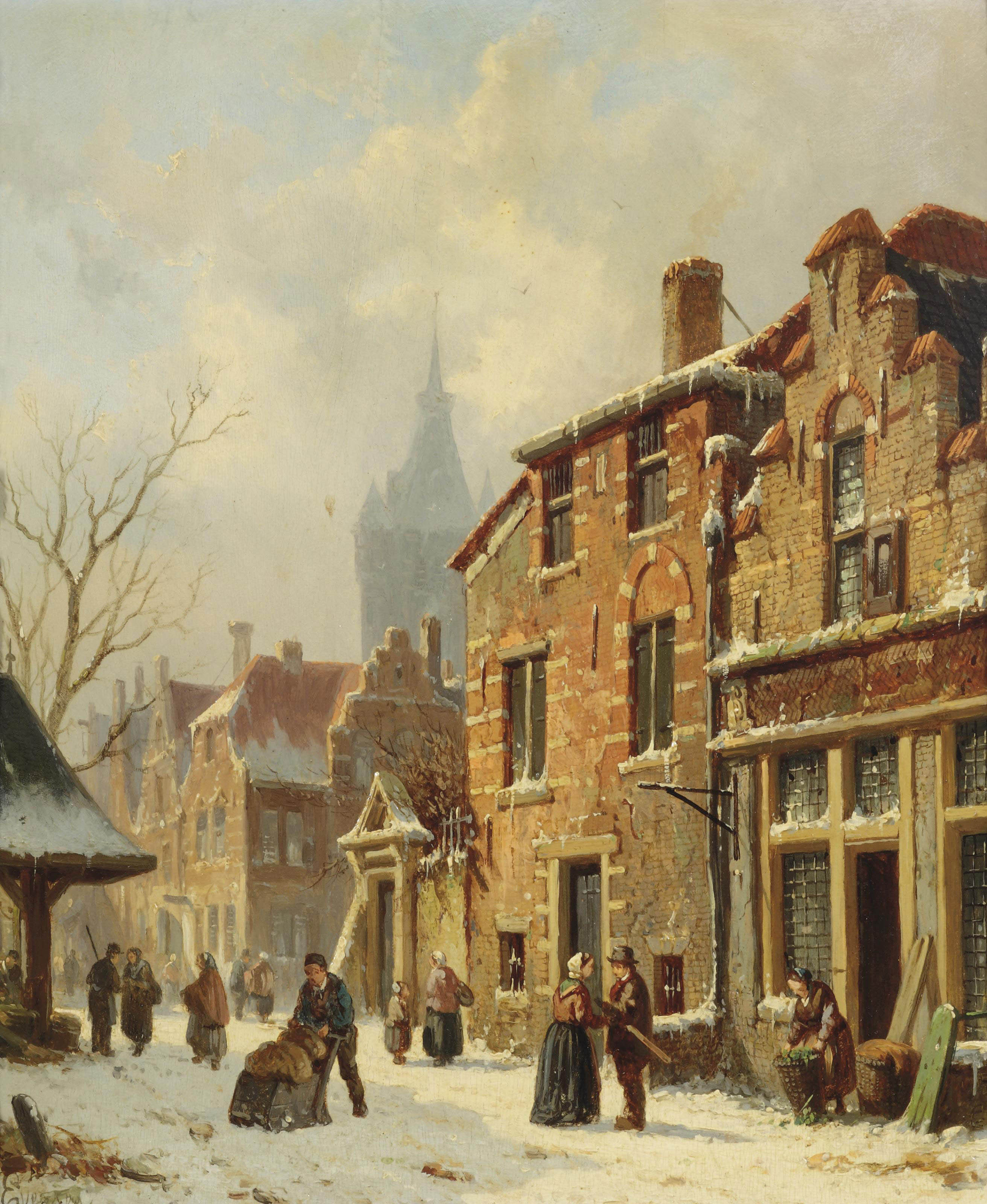 Numerous townspeople in a snow-covered street, Delft
