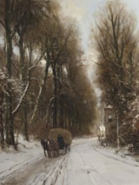 Horse and carriage on a track in winter