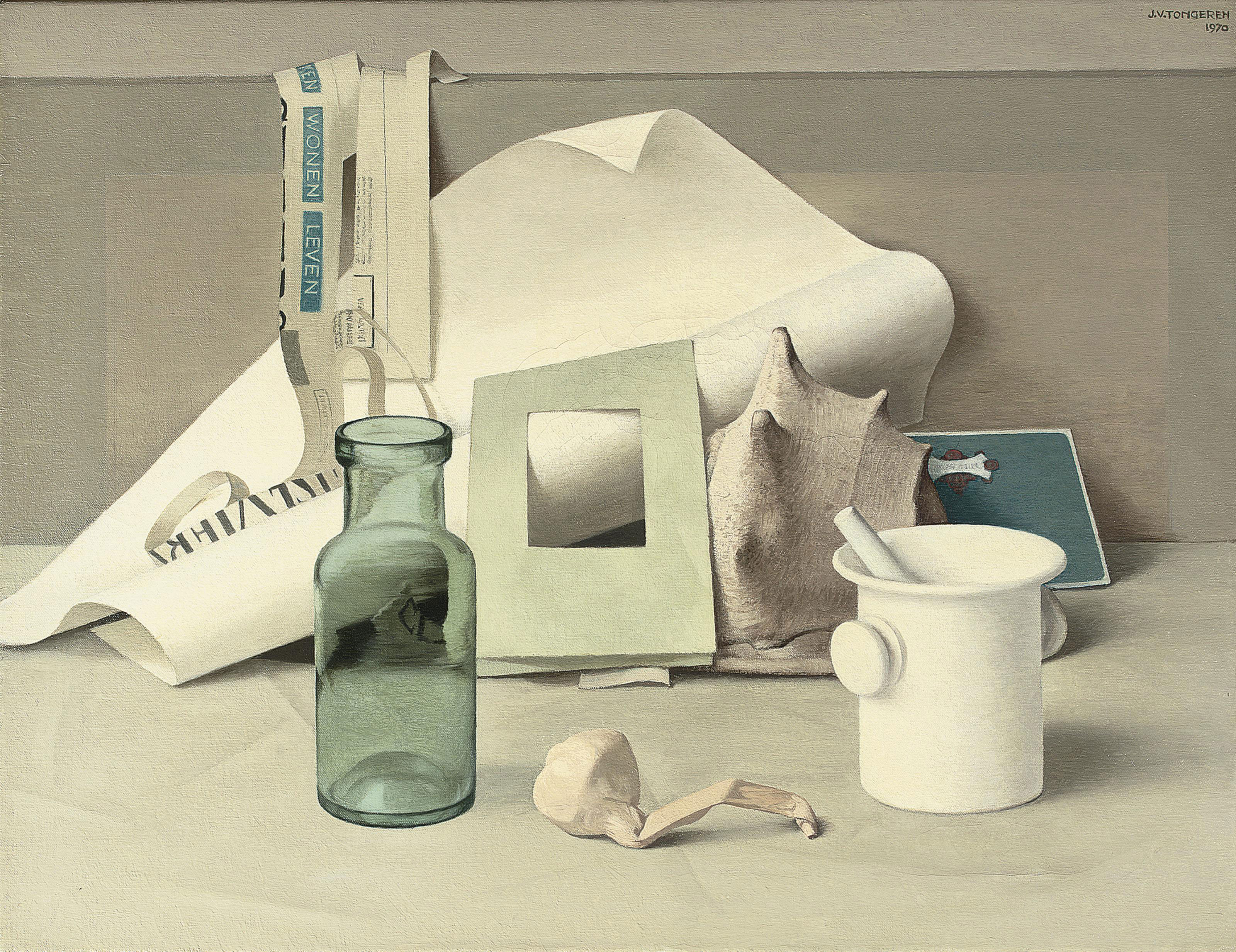 Still life with a mortar, garlic and a bottle