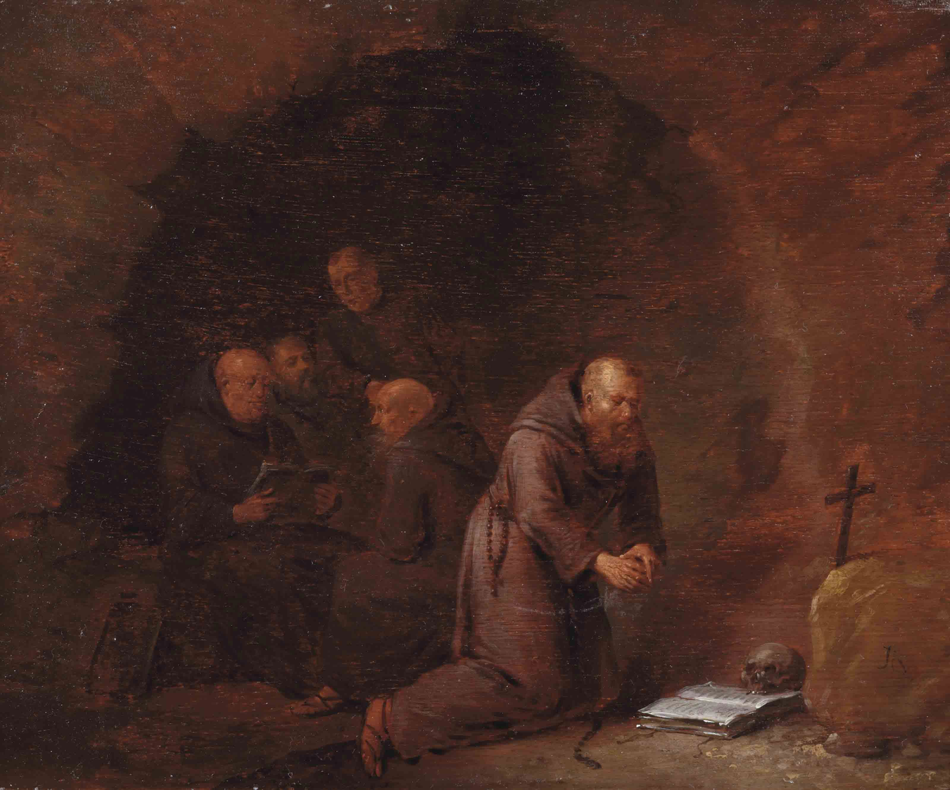 A group of hermit monks in a grotto