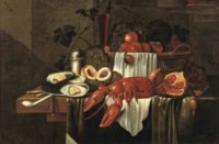 A lobster, a silver plate with oysters, peaches, grapes, a glass of red wine, a basket with various fruits and other objects, all on a partially draped table