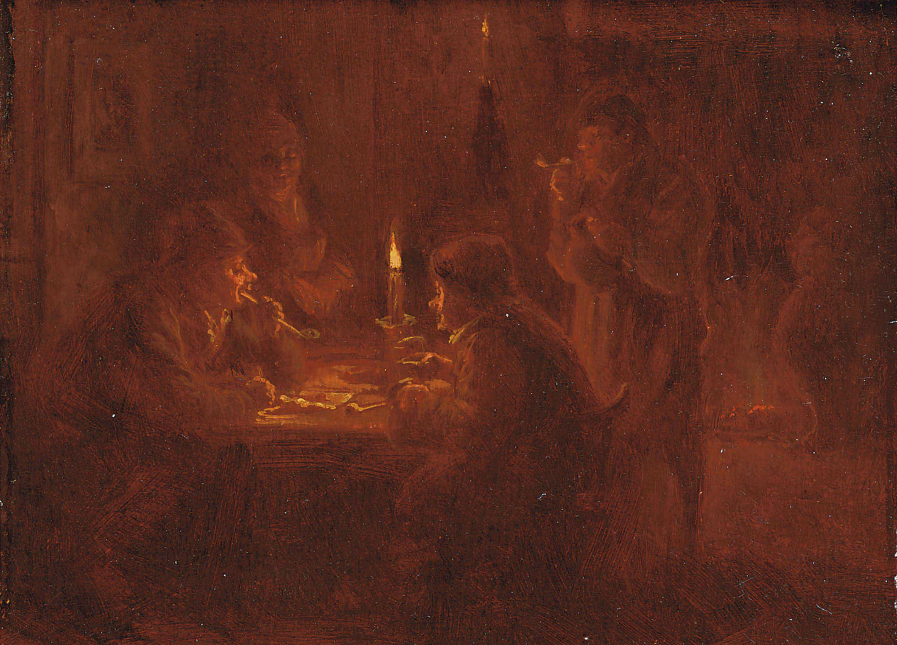 An interior with a company making merry, two man seated at a table playing cards; 'en brunaille'
