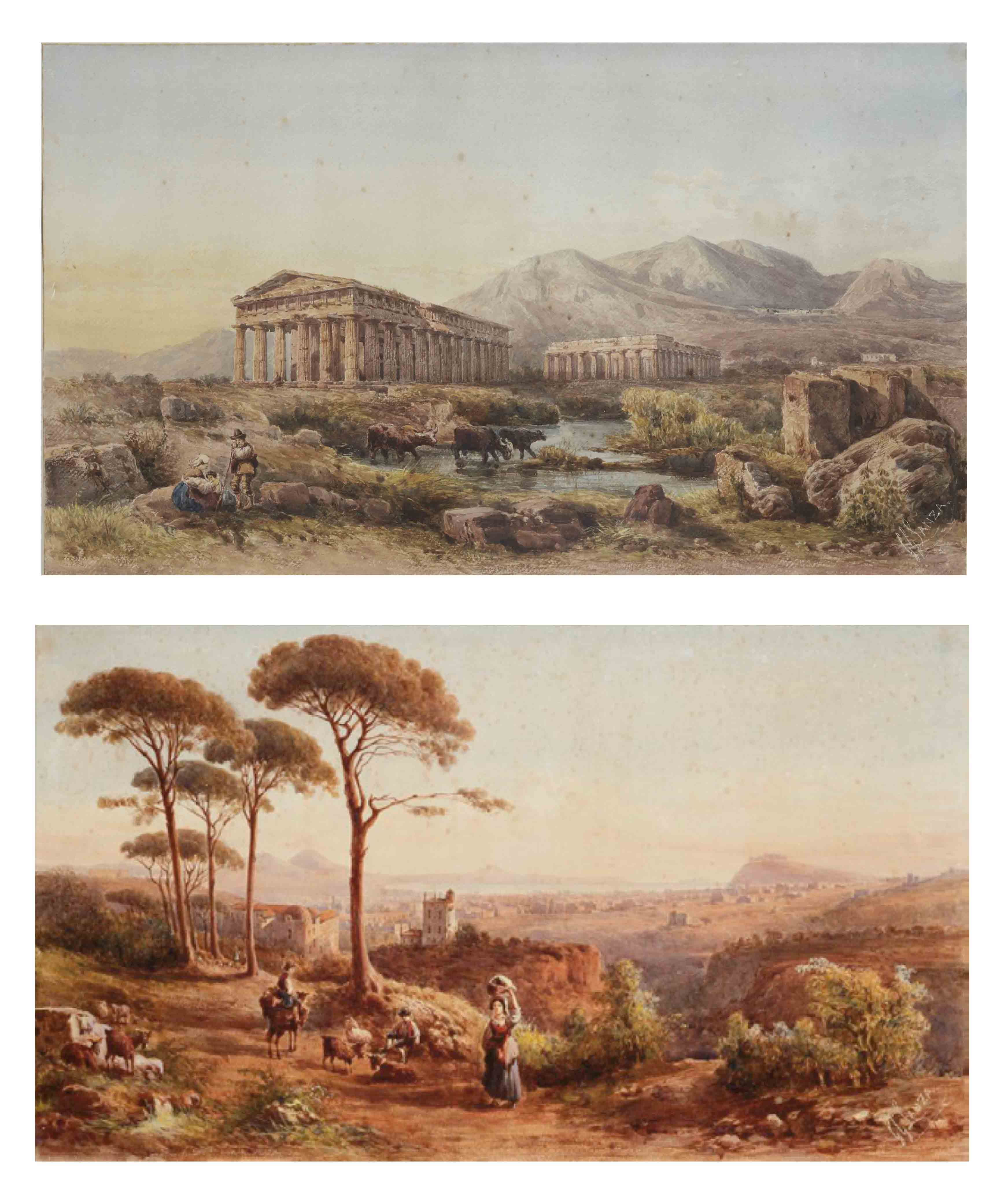 A view of Naples with the Vesuvius in the background; and The Temple of Neptune and the Temple of Hera, Paestum