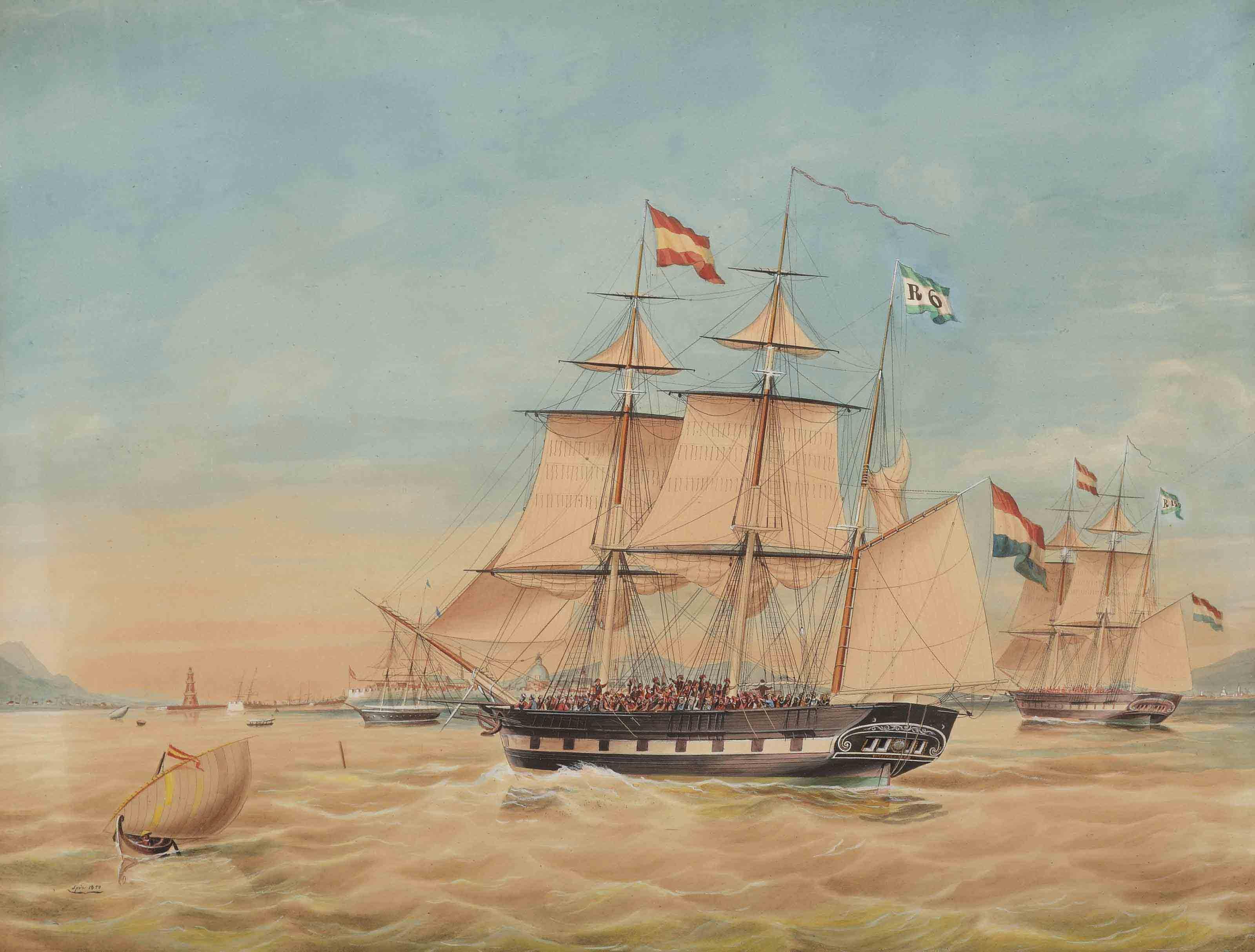 commander P. Wierikx's barque 'Reijerwaard' in the harbor of Manilla