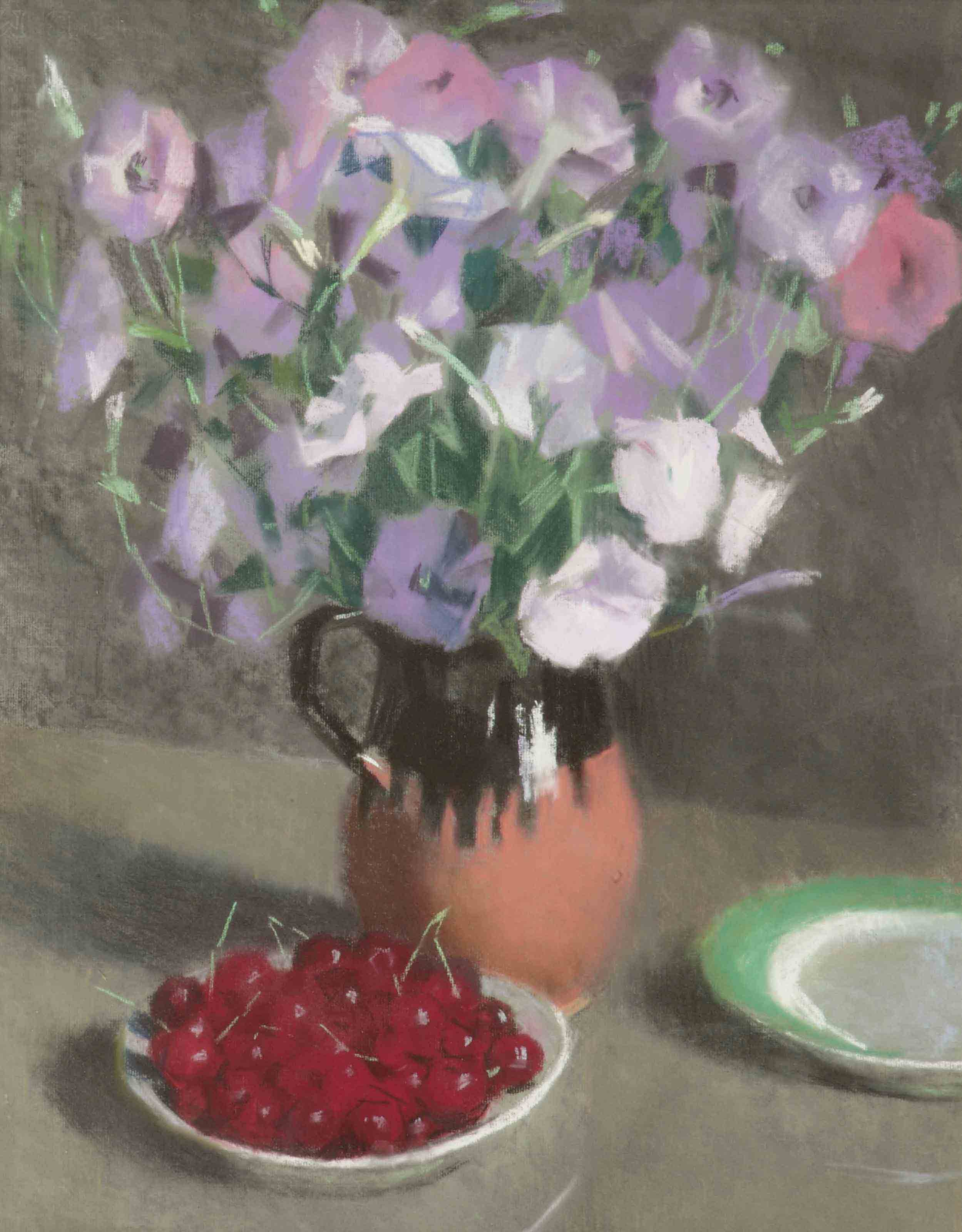 A still life with cherries and purple flowers
