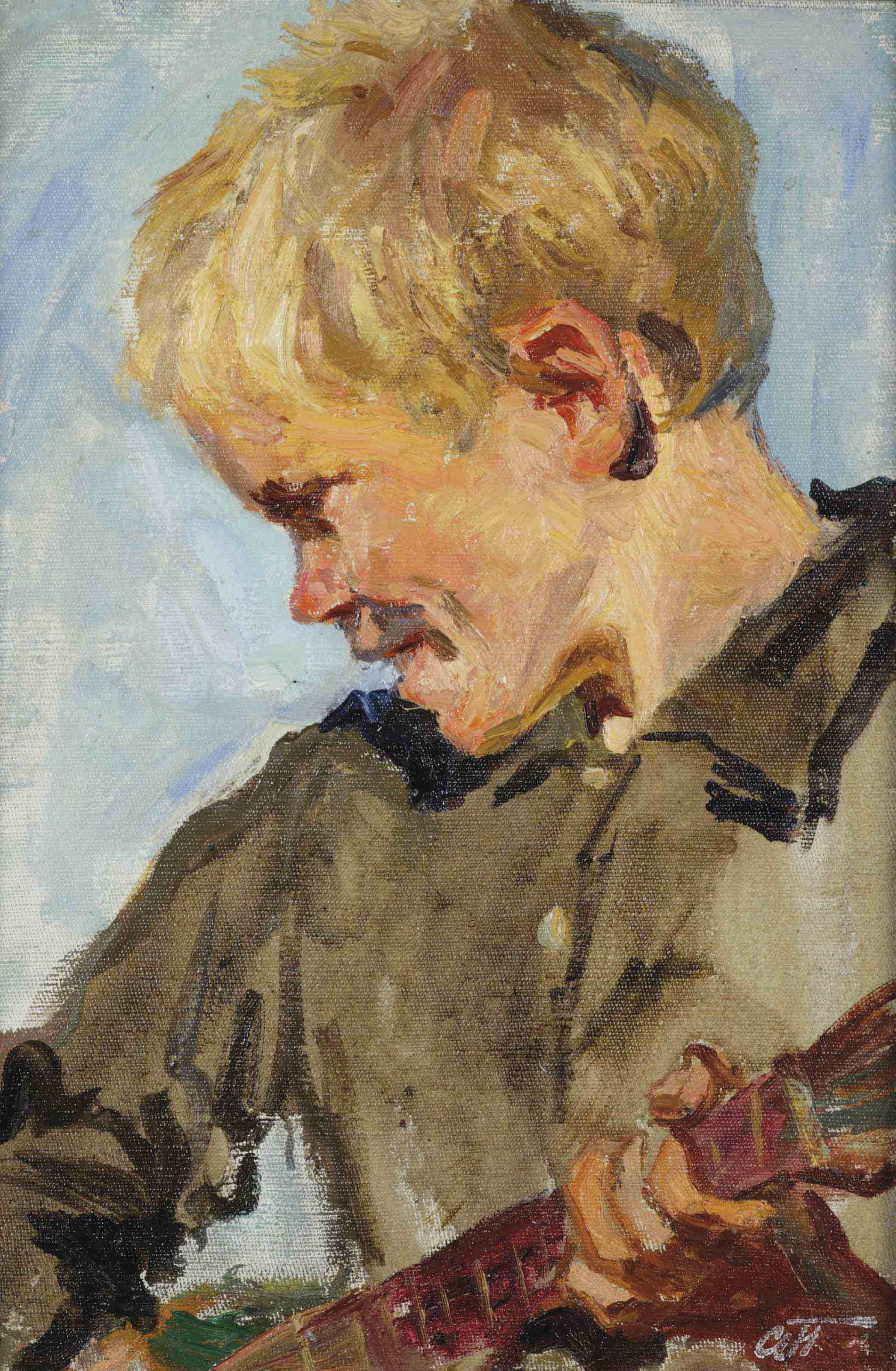 Study for 'The Fair': A boy playing the balalaika
