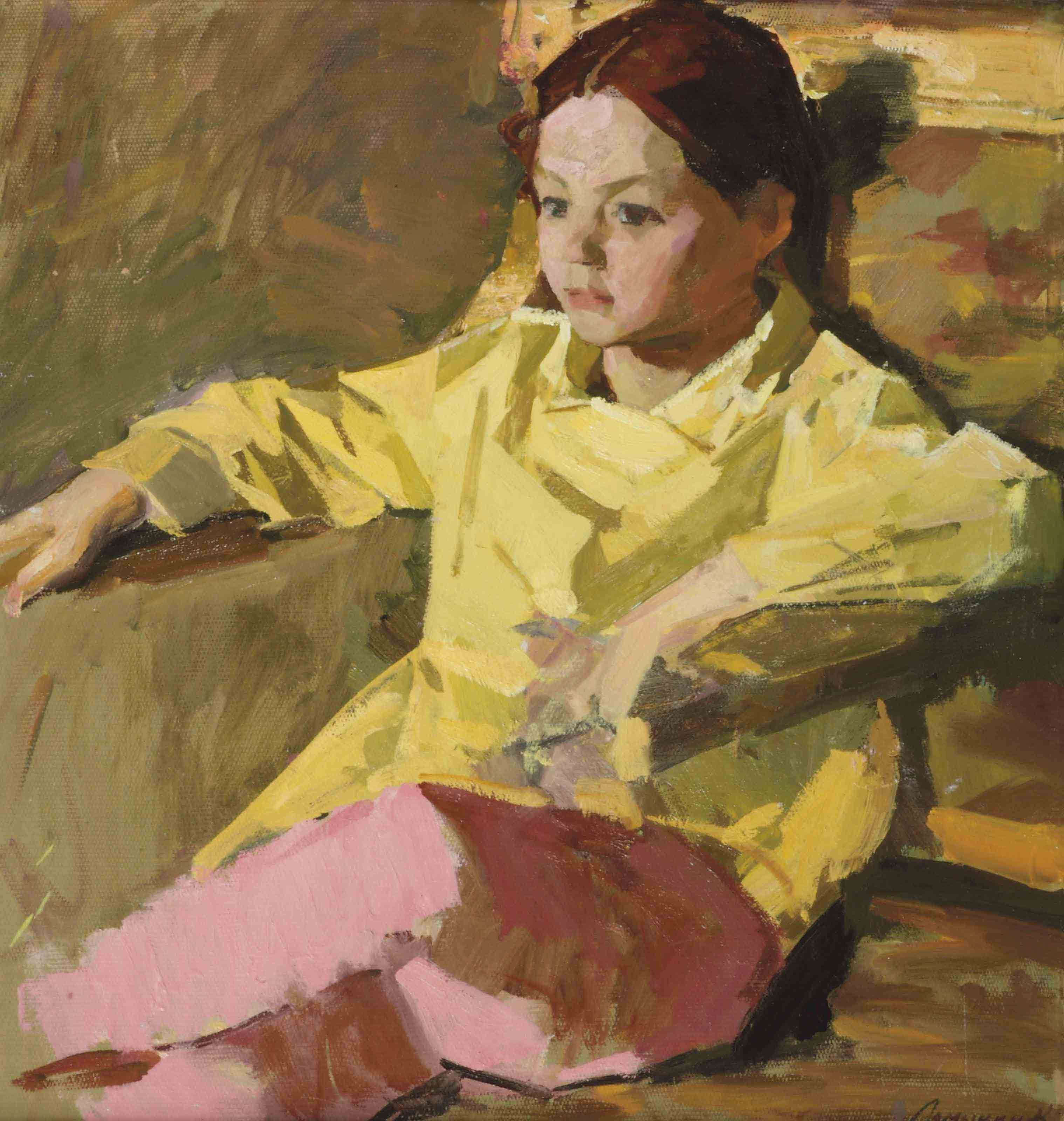 A seated young girl