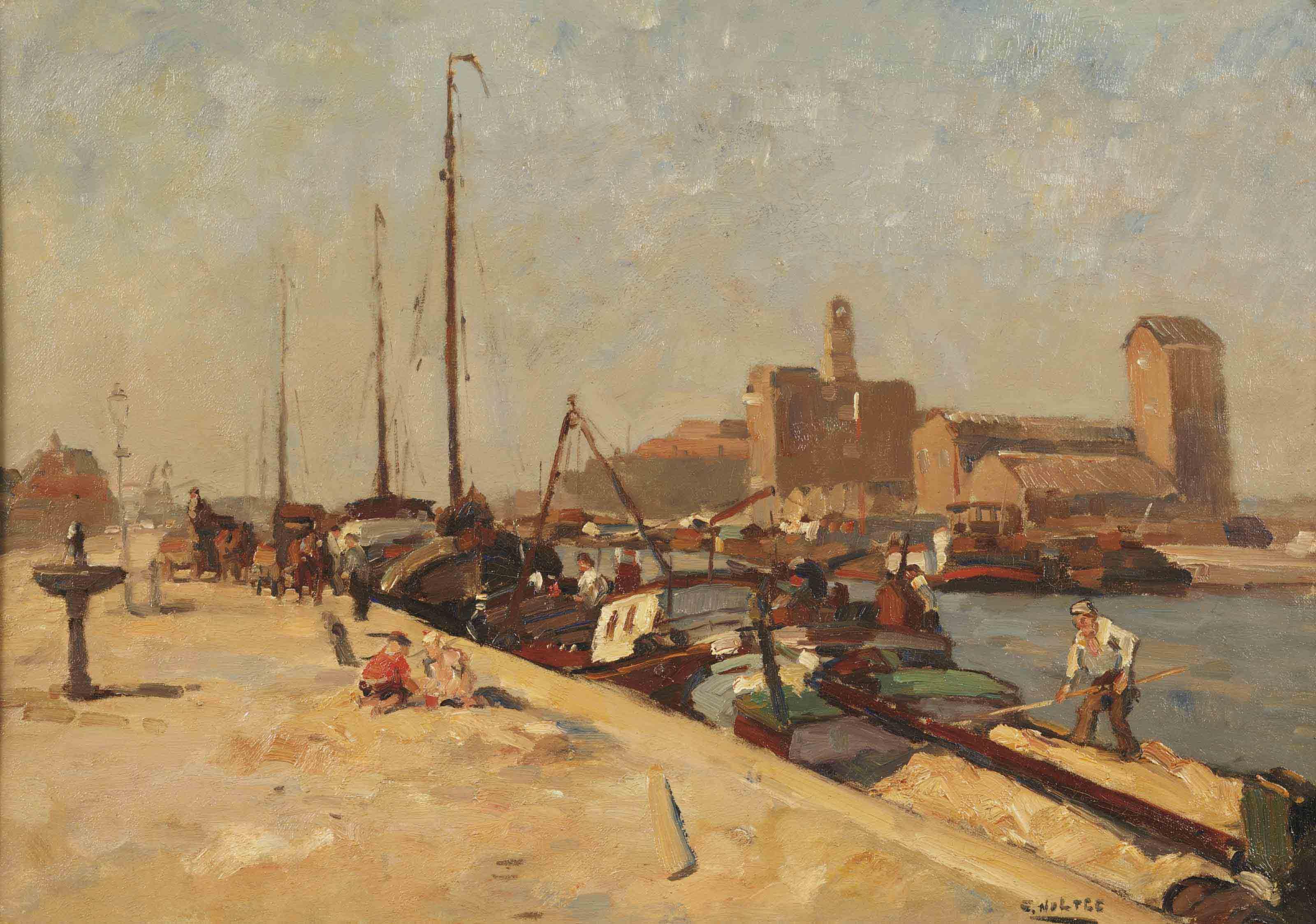 Along a quay