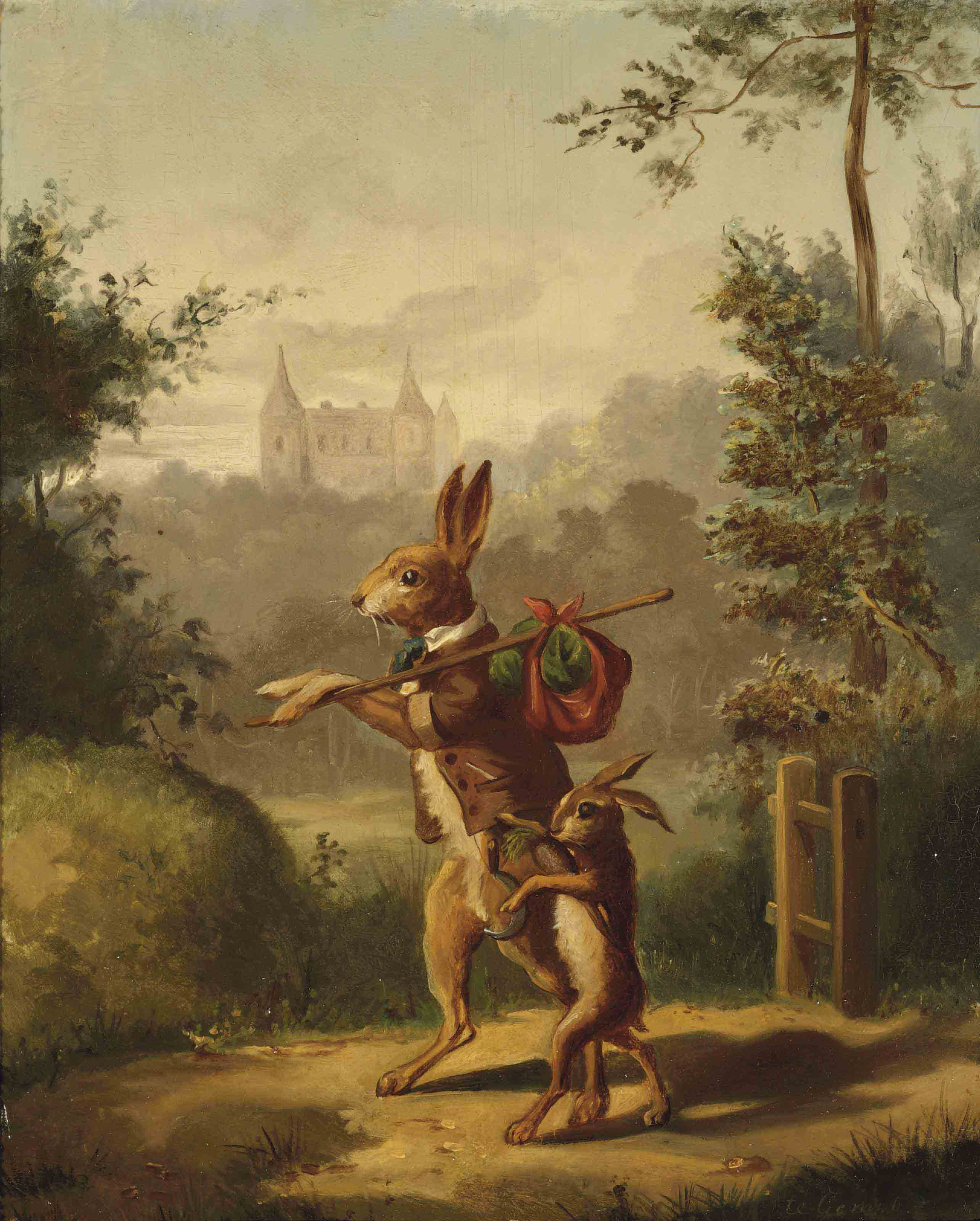 Two hares with a knapsack, a castle beyond