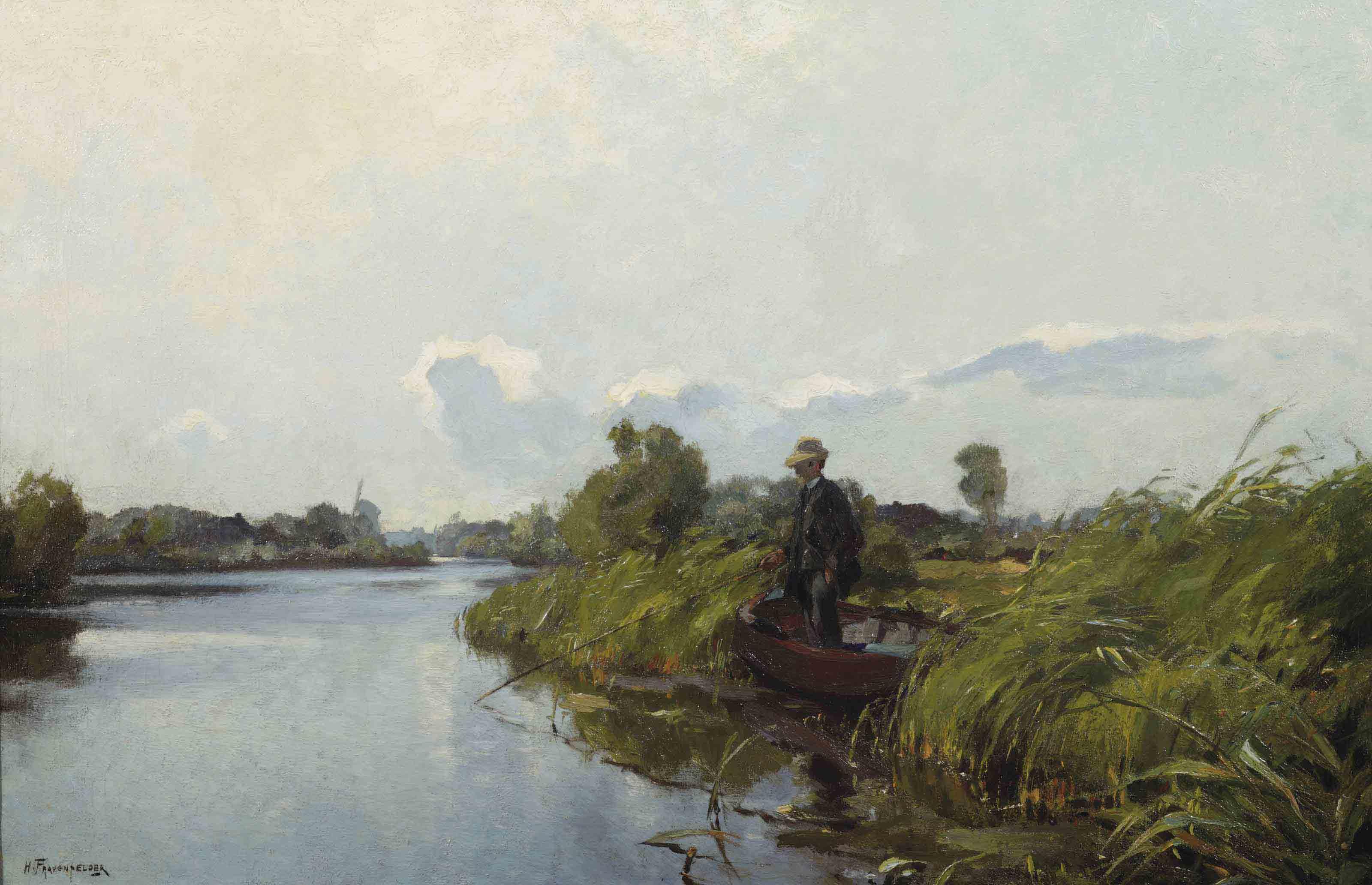 Man fishing in the Old Rhine
