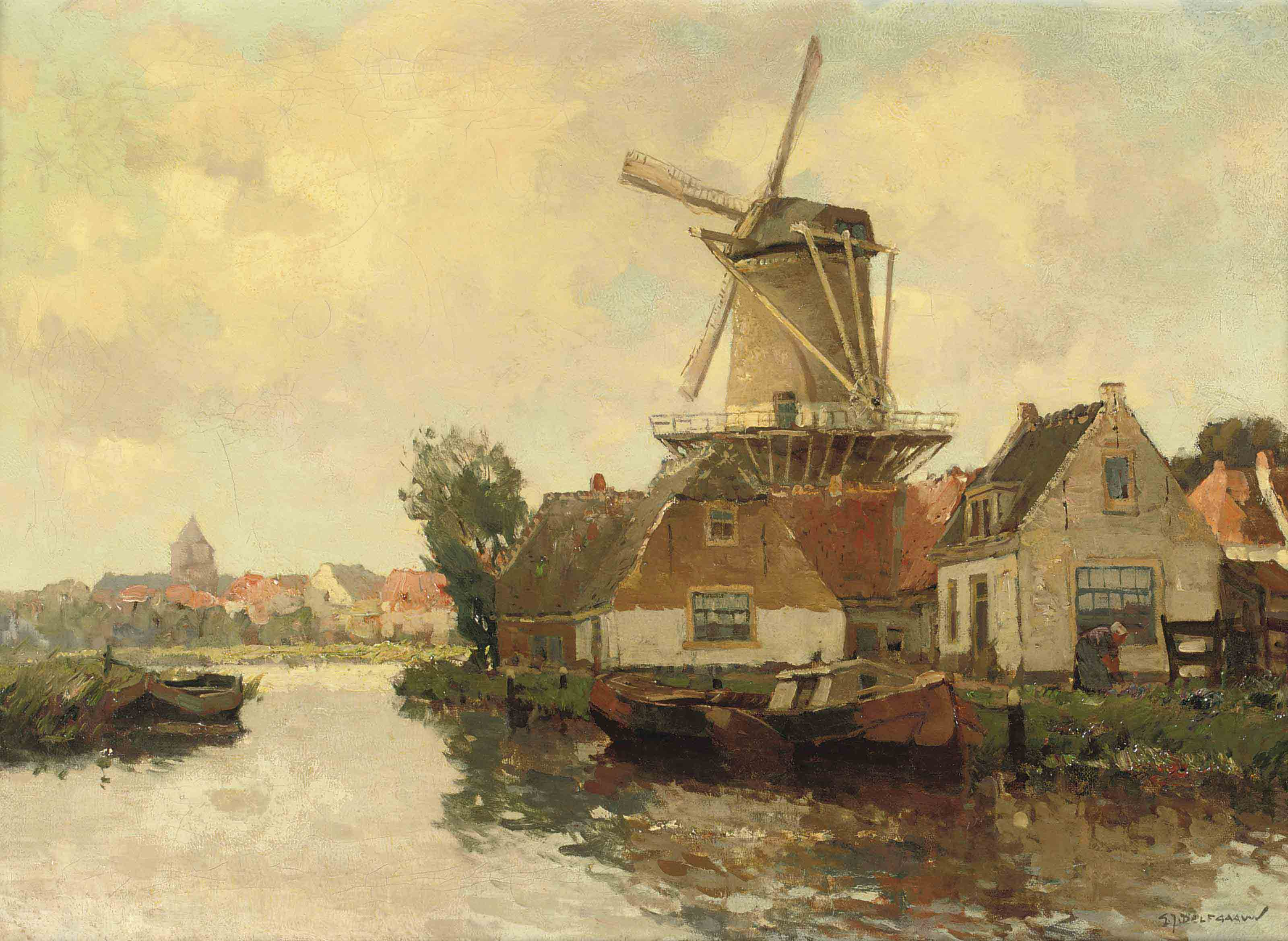 A Dutch town with a windmill