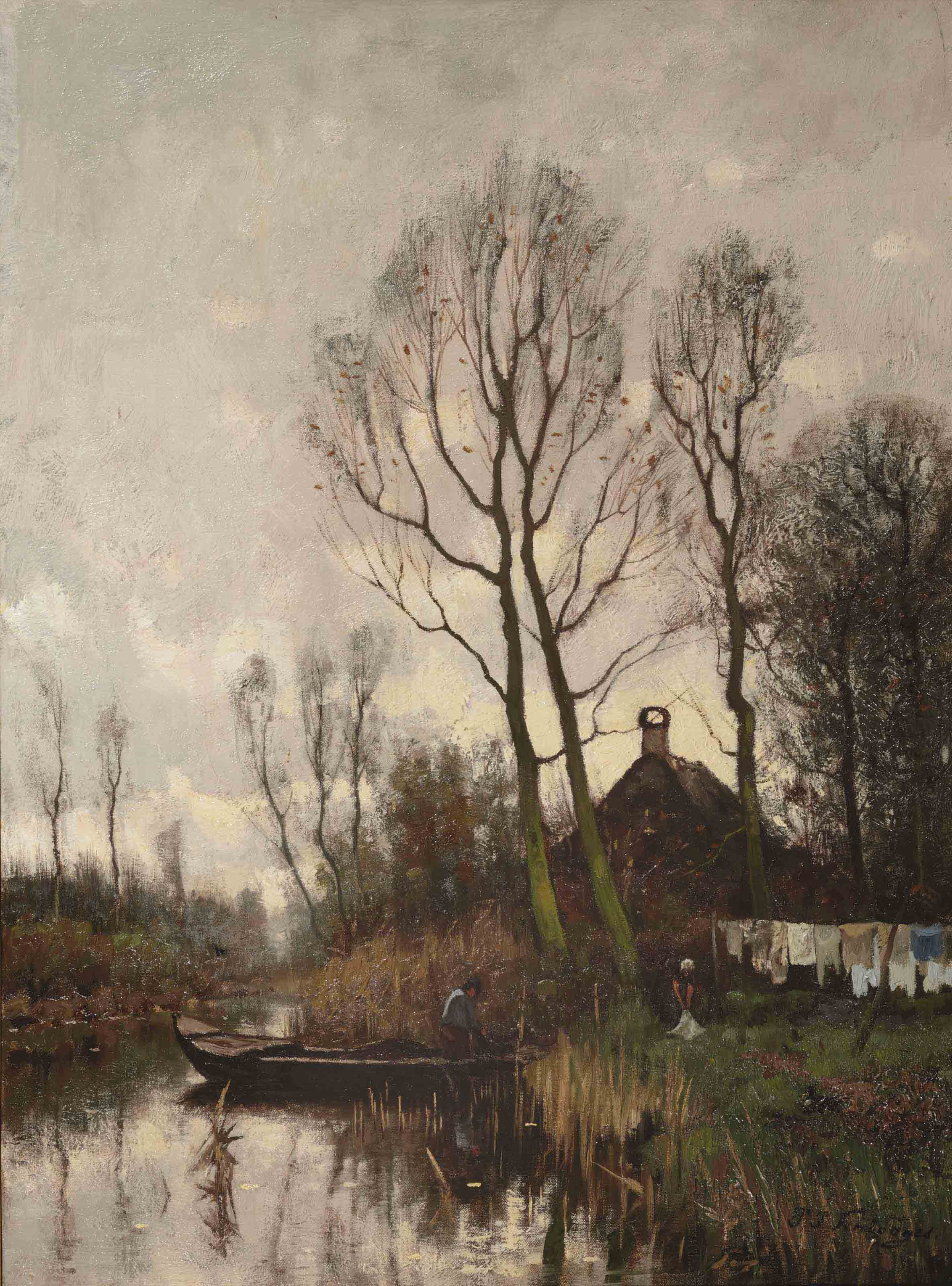 Daily activities along a river in an autumn landscape