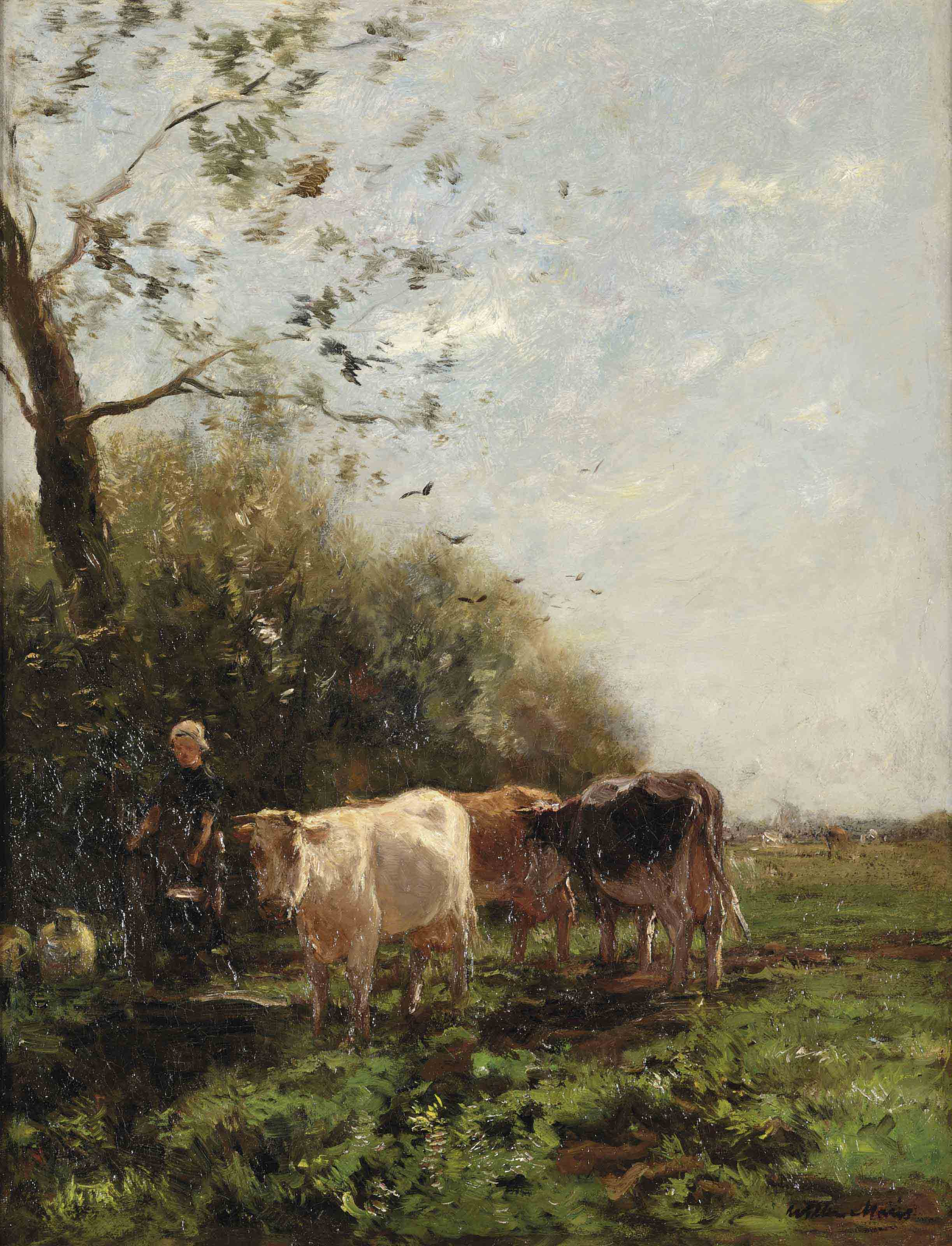 A farmer's wife with grazing cows