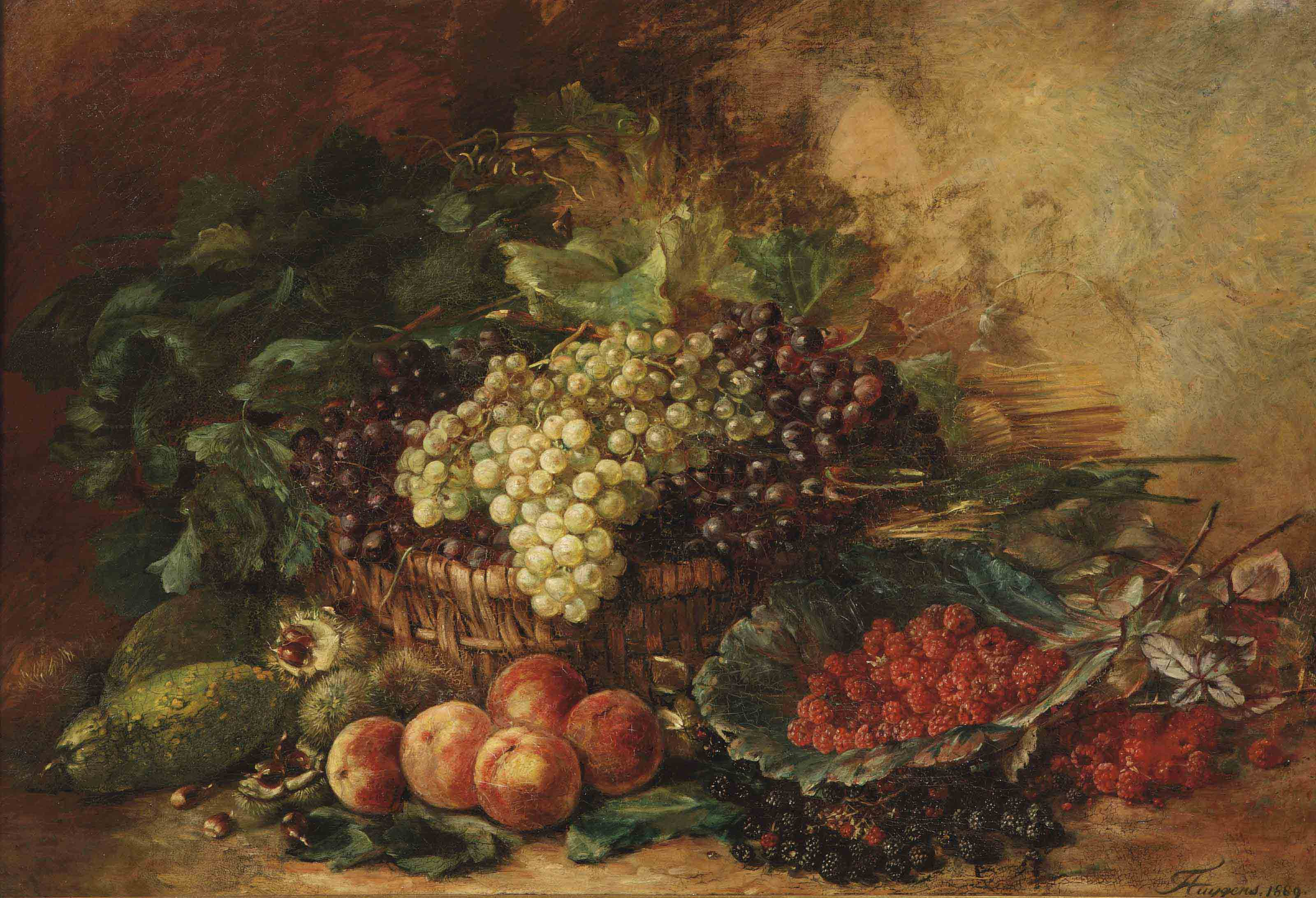 White and black grapes in a wicker basket, surrounded by gourds, chestnuts, peaches, raspberries and blackberries