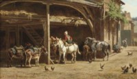Donkeys and horses gathered under a shelter n a Summer's day