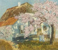 Two girls under a blossoming tree