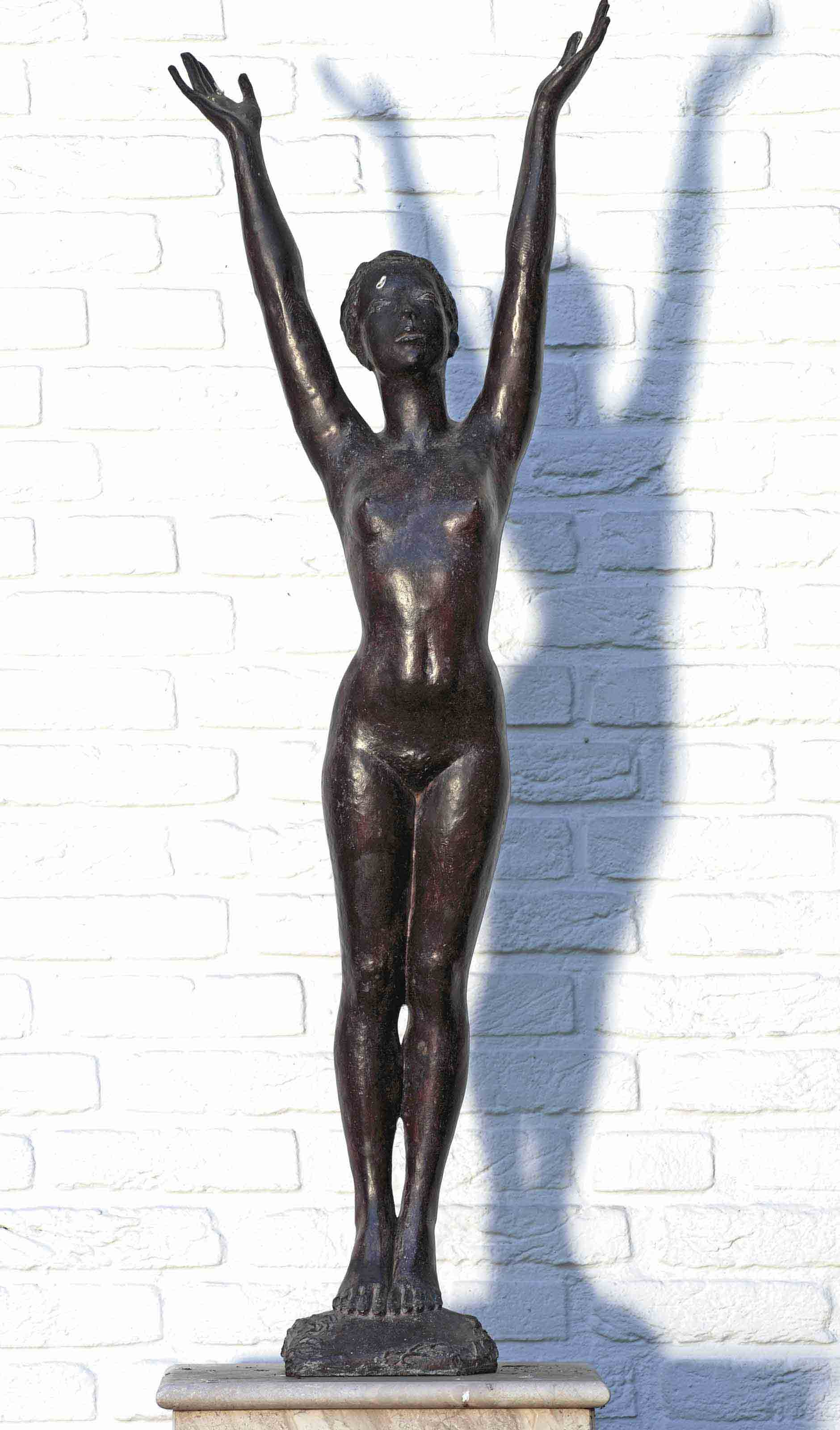 A nude with raised arms