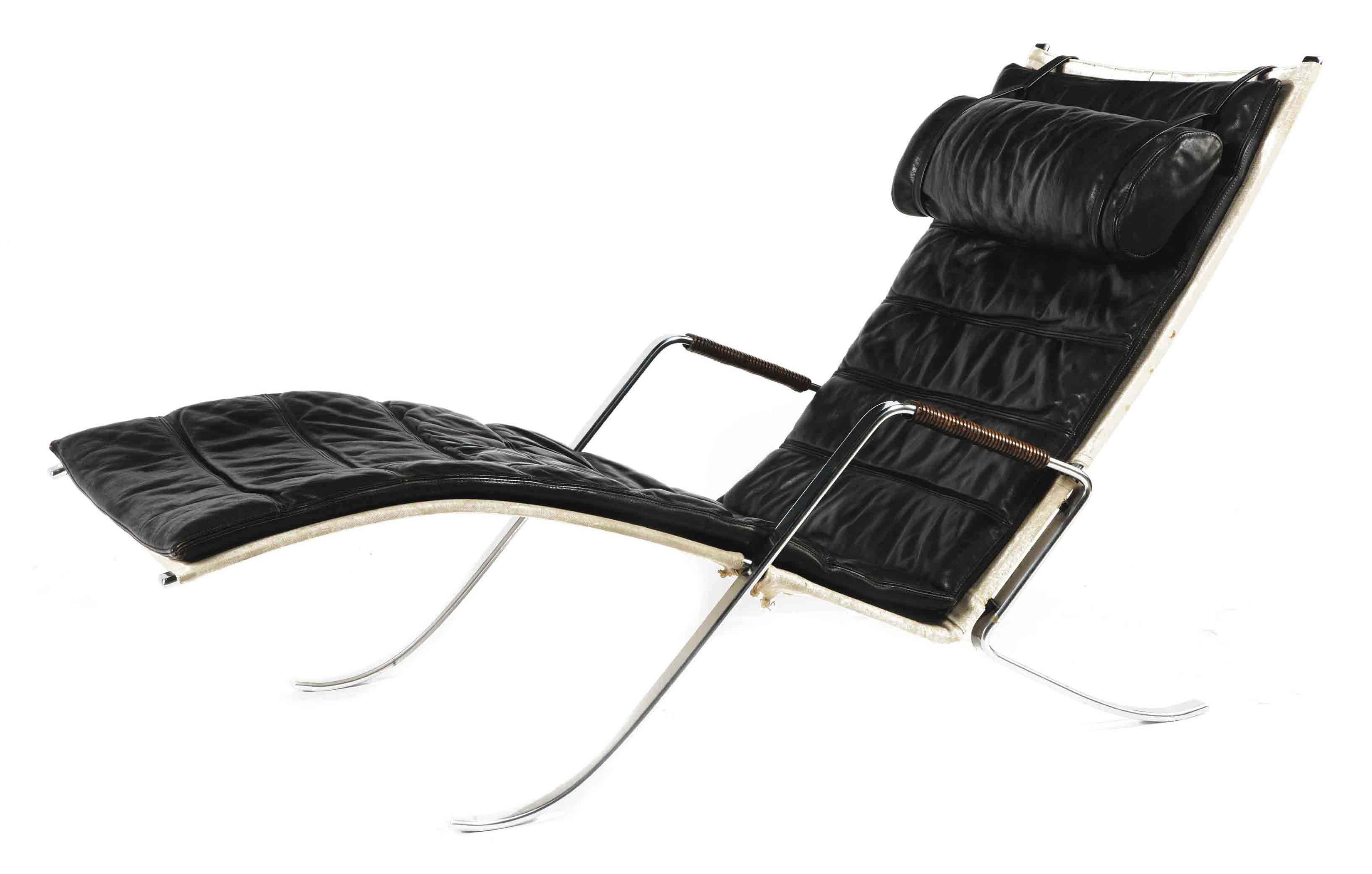 A CHROME STEEL CHAISE LONGUE OR DAYBED 'GRASSHOPPER' MODEL NO.'FK 87'