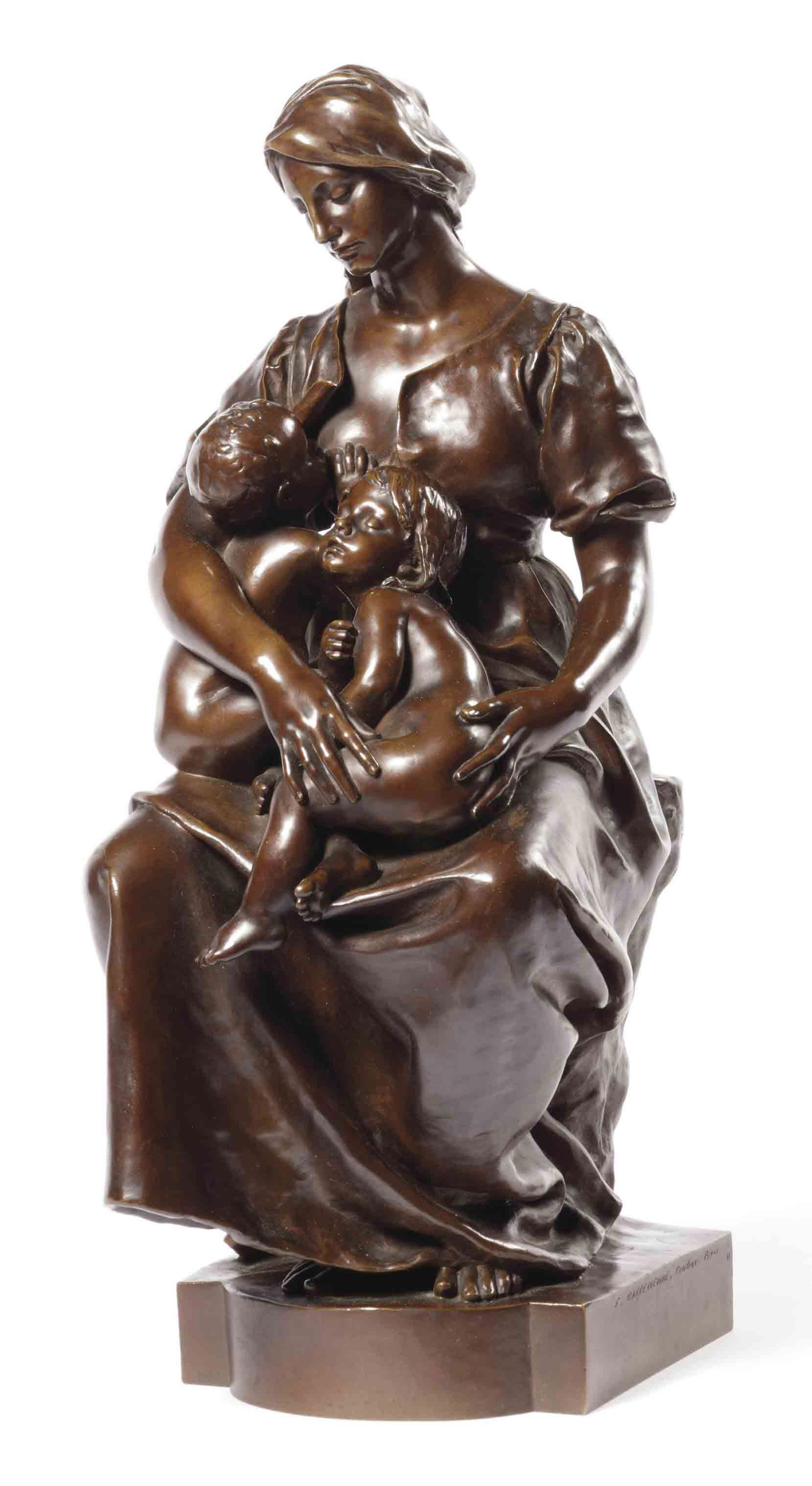 A FRENCH BRONZE GROUP OF A MOTHER AND CHILDREN, ENTITLED 'LA CHARITÉ'