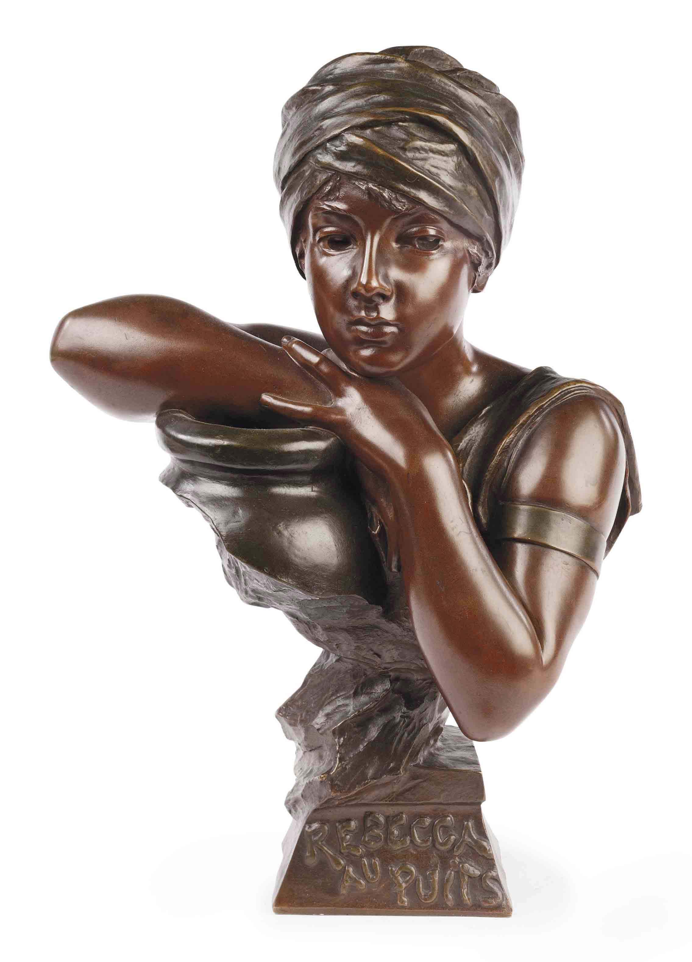 A FRENCH TWO-COLOUR PATINATED BRONZE BUST A GIRL ENTITLED 'REBECCA AU PUITS'