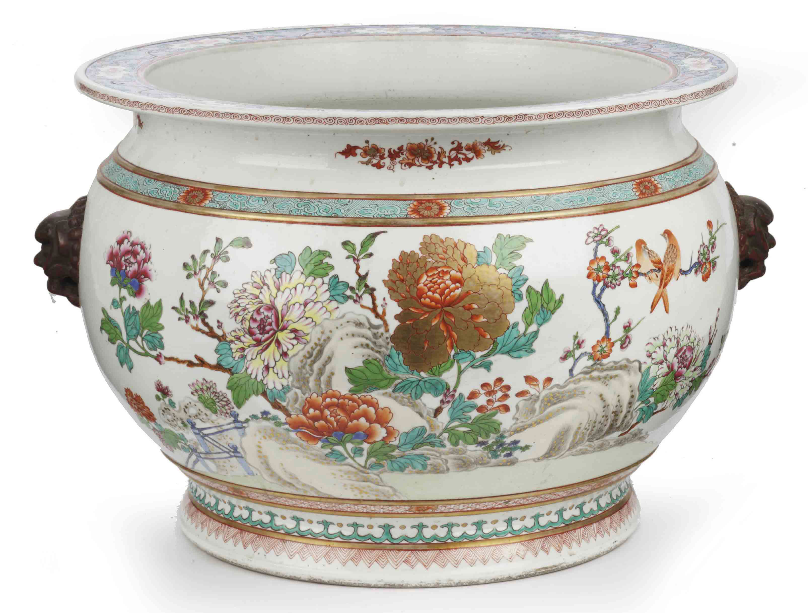 A Samson famille rose fish-bowl
