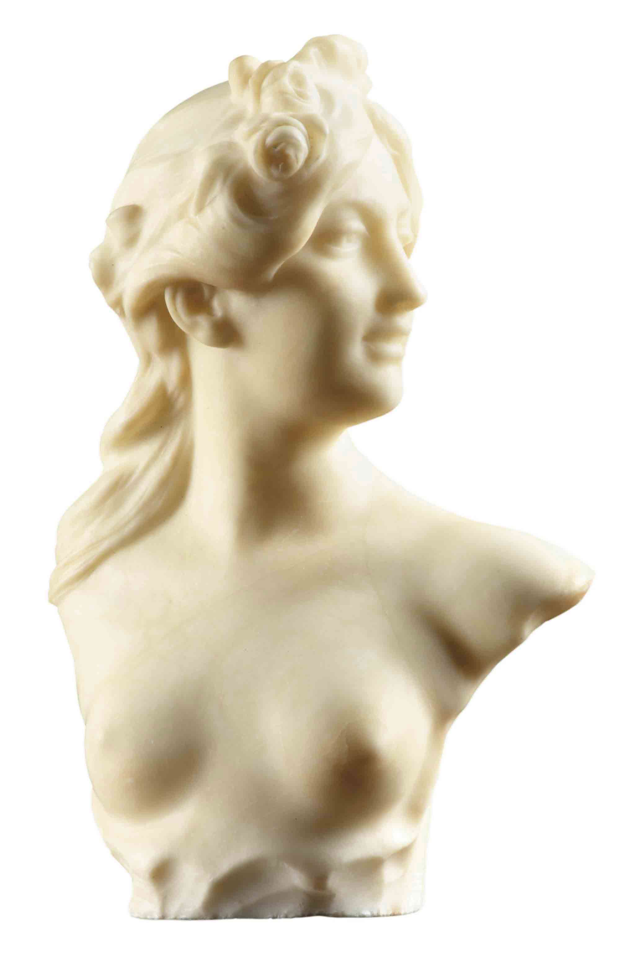 A FRENCH WHITE ALABASTER BUST OF A GIRL