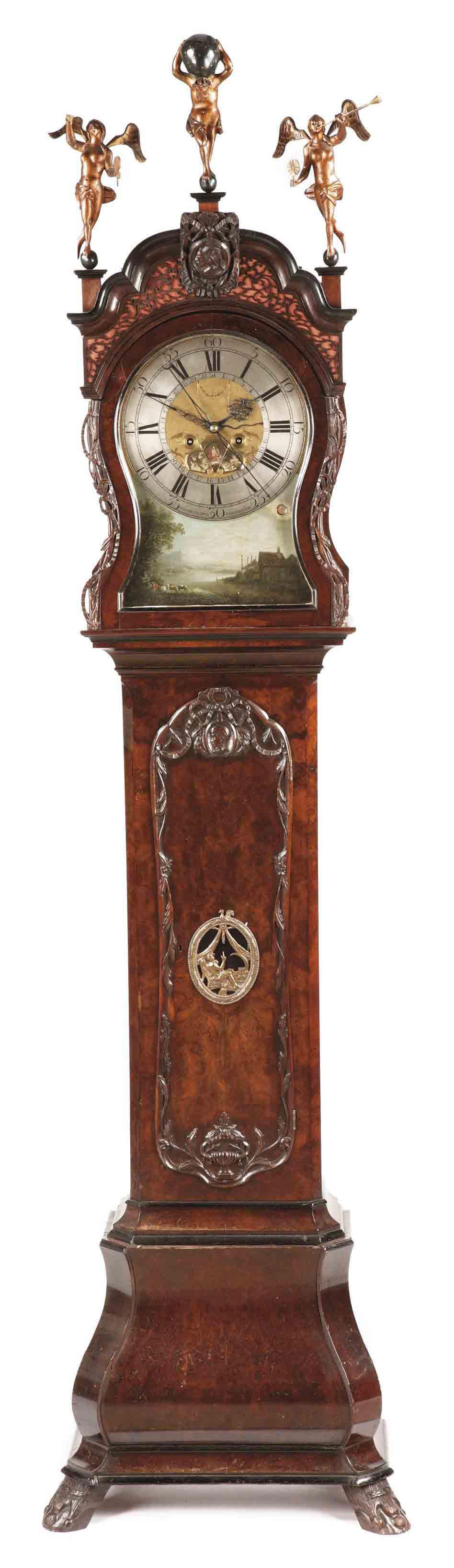 A DUTCH WALNUT and BURR-WALNUT LONGCASE CLOCK WITH CALENDAR